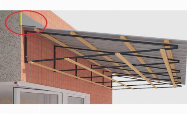 Деревянная обрешетка и профлист на консольной крыше