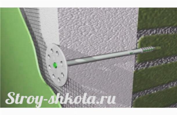 Крепление полистирольных плит производится с помощью дюпелей