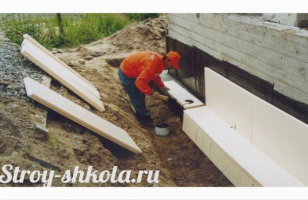 Процесс укладки полистирольных плит