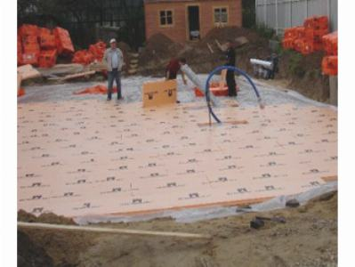 Процесс утепления плитного фундамента