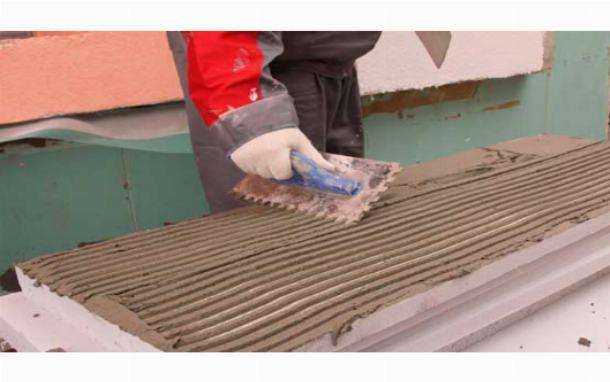 Установка утеплителя на плиточный клей