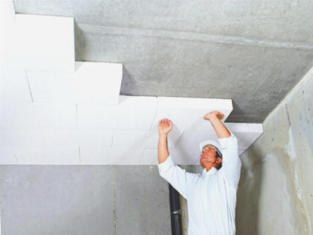 Утепление потолка гаража с помощью пенополистирольных плит