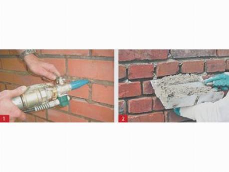 Заполнение швов в кирпичной стене: 1 – машинный способ; 2 – ручной способ