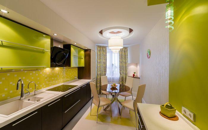 Дизайн интерьер кухни в зеленом цвете