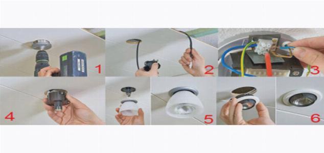 Отверстия для точечных светильников делают с помощью дрели с насадкой
