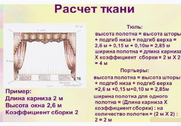 Пример расчета ткани на шторы