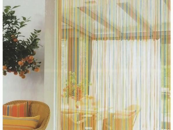 Веревочные шторы кисея в интерьере